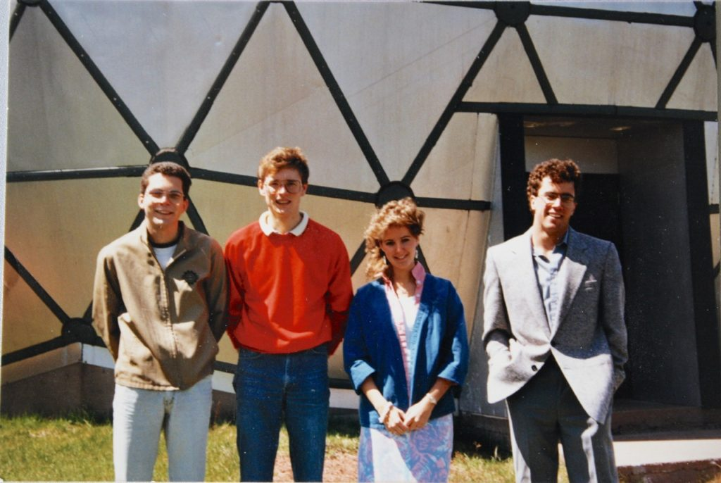 Planetarium staff in the summer of 1985. Left to right: David Yorston, David Brennan (Manager), Michelle Cottreau, David Wheeler.  Photograph provided by Michelle Cottreau.
