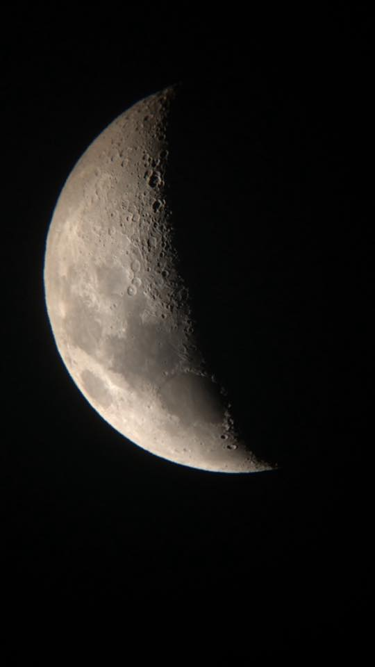 Telescopic view of the Moon captured at the event by UPEI student Hannah Reid on her smartphone.