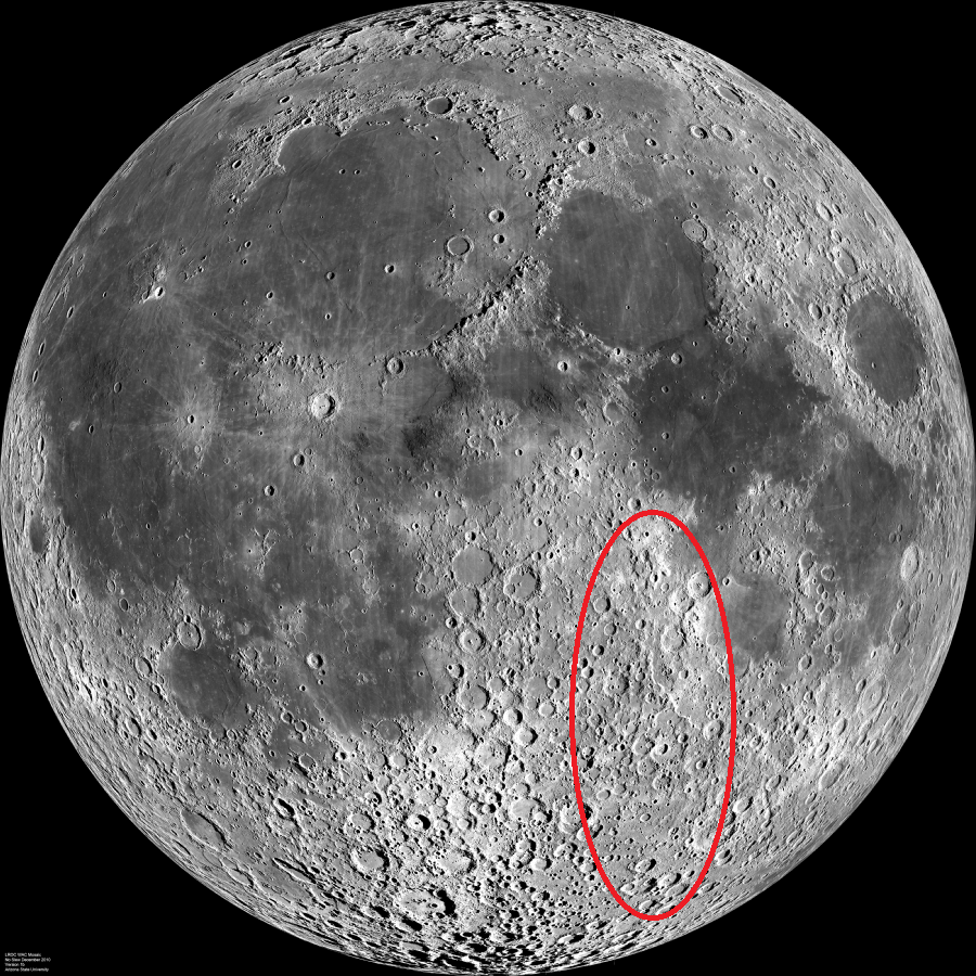The area circled in red shows generally which craters were observed at the June 10 viewing. Moon image by LRO via Wikimedia Commons.