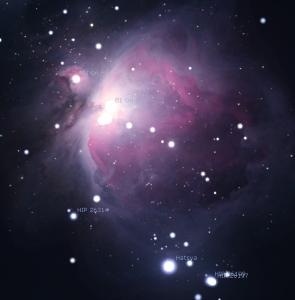 Orion Nebula as simulated in Stellarium.