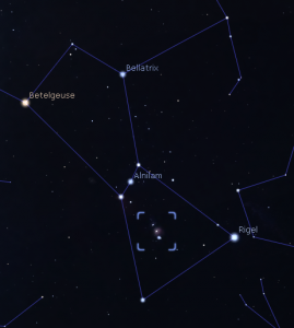 The location of the Orion Nebula is shown in the sword of Orion within the square (screenshot from Stellarium).